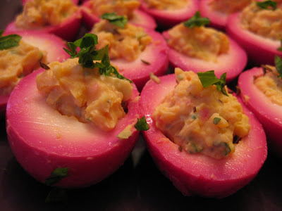 Beet pickled deviled eggs for holiday appetizer