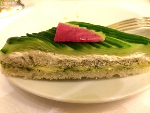 The cucumber sandwich at Afternoon tea at the Plaza Hotel in New York City