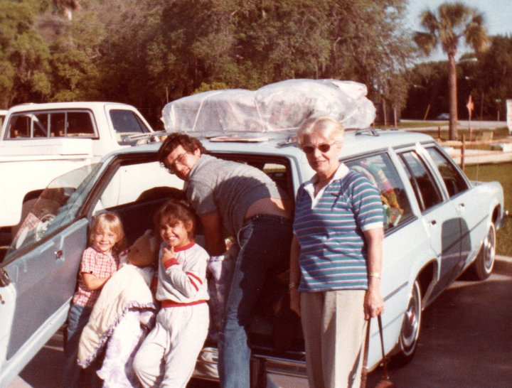 Pops loading up the family truckster for one of our epic , 6 people in one wagon, across country road trips.