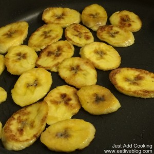Plantains browning up to be included in the Pork Loin Africana