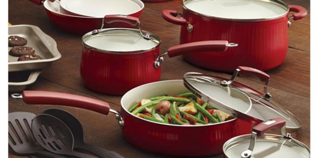 Red Wayfair pots and pans