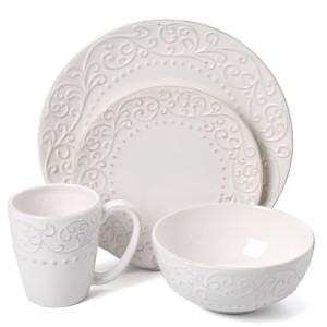 American Atelier Bianca Leaf Round 16 Piece Dinnerware Set from Wayfair,com