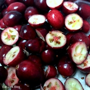 Fresh cranberries halved for stuffing recipe