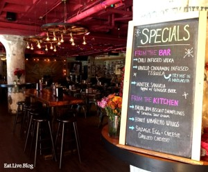 Lorettas Blue Grass Brunch Specials and Interior