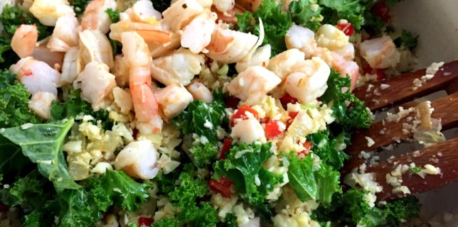 Mixing up shrimp fried cauliflower rice.