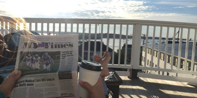 Coffee and the Martha's Vineyard Times on the balcony of the Kelley House