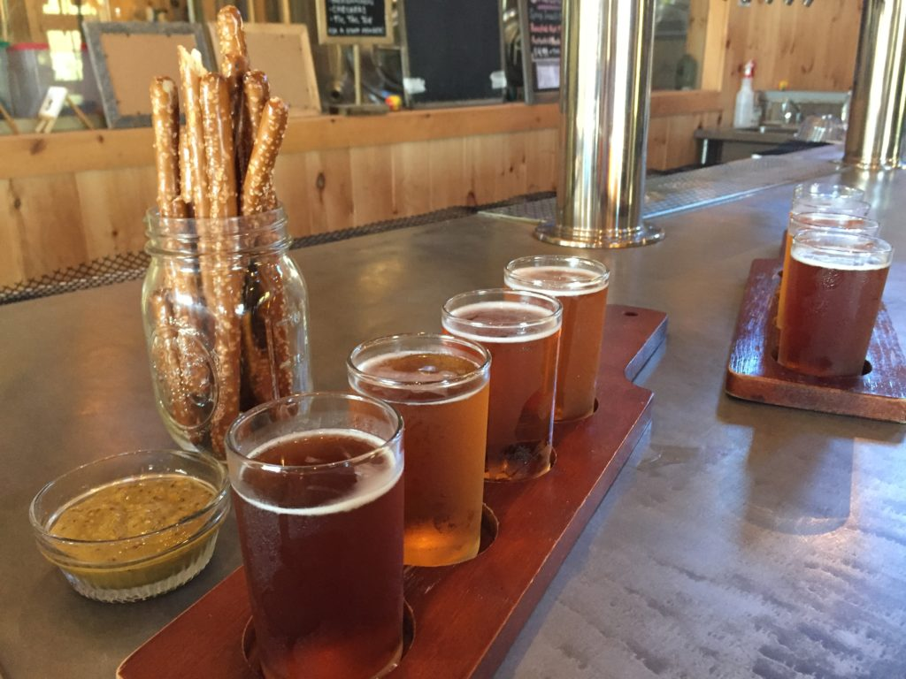 Beer sampler and pretzels at Bad Martha Brewery in Martha's Vineyard