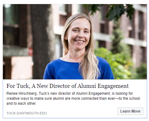 Article from Tuck School of Business announcing Renee Hirschberg as the Director of Alumni Engagement